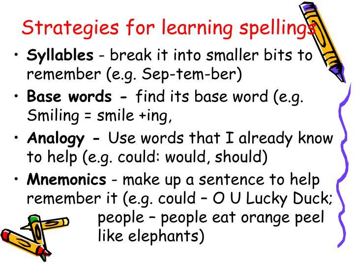 Strategies for learning spellings