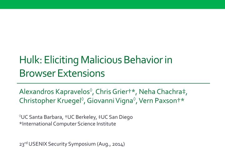 hulk eliciting malicious behavior in browser extensions n.