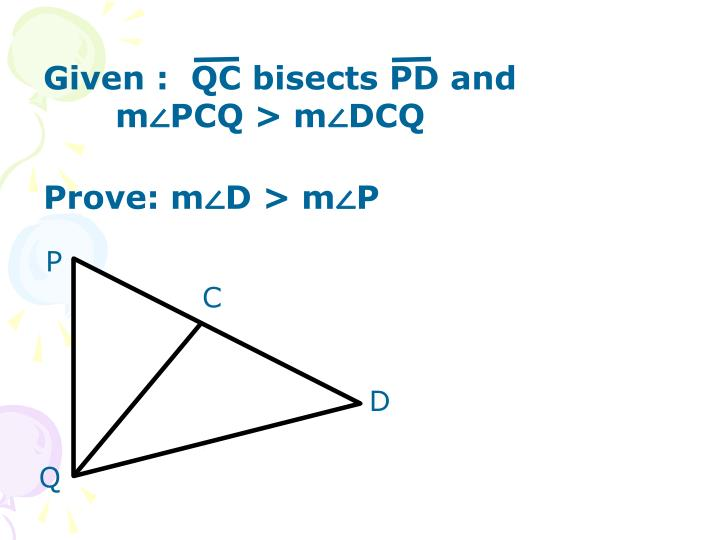 Given :  QC bisects PD and m