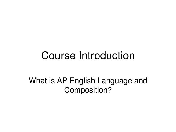 course introduction n.