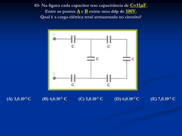 03- Na figura cada capacitor tem capacitância de