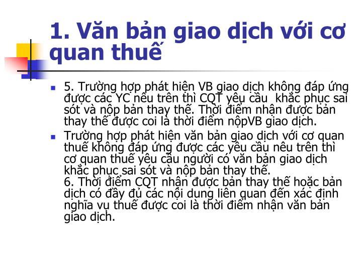 1. Văn bản giao dịch với cơ quan thuế