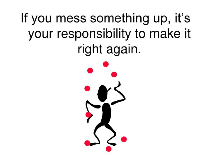 If you mess something up, it's your responsibility to make it right again.