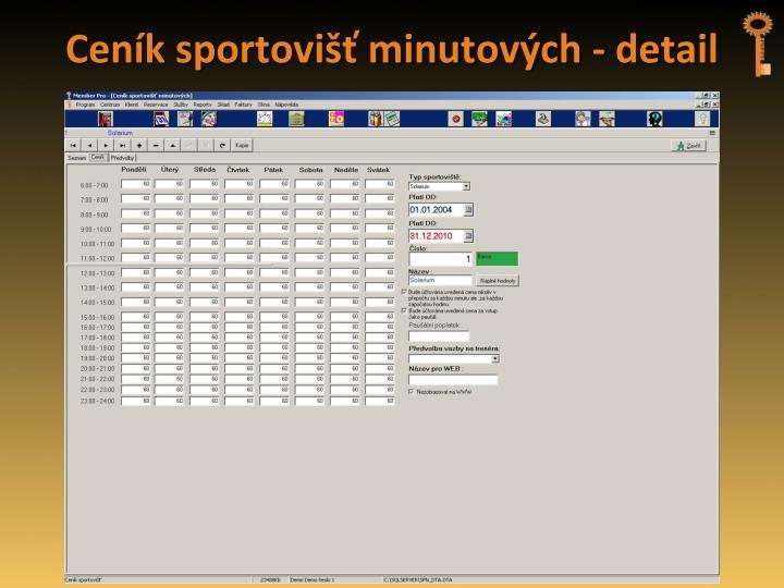 Ceník sportovišť minutových - detail