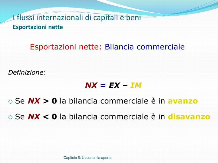 I flussi internazionali di capitali e beni esportazioni nette