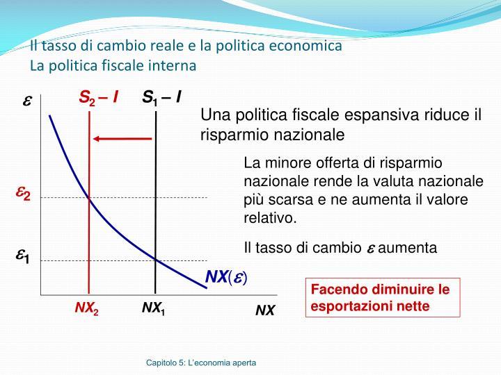 Il tasso di cambio reale e la politica economica