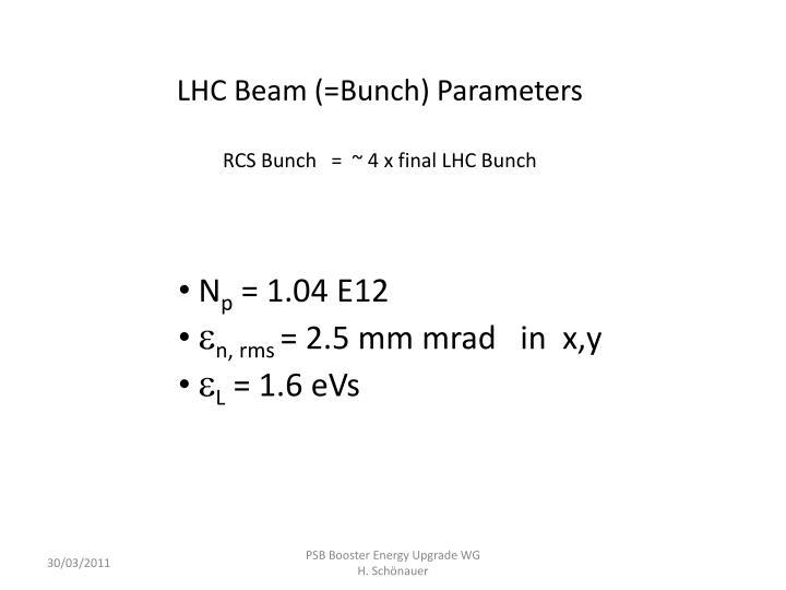 Lhc beam bunch parameters rcs bunch 4 x final lhc bunch