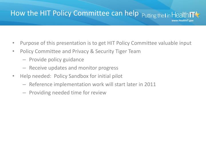 How the HIT Policy Committee can help