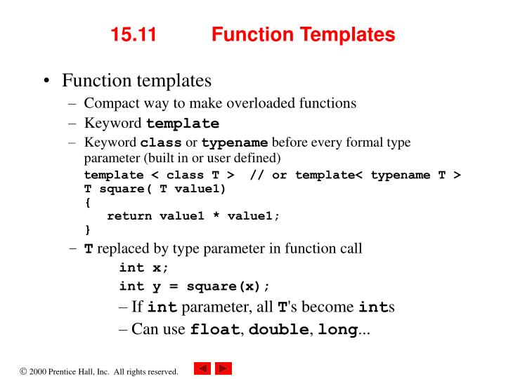 15.11 	Function Templates