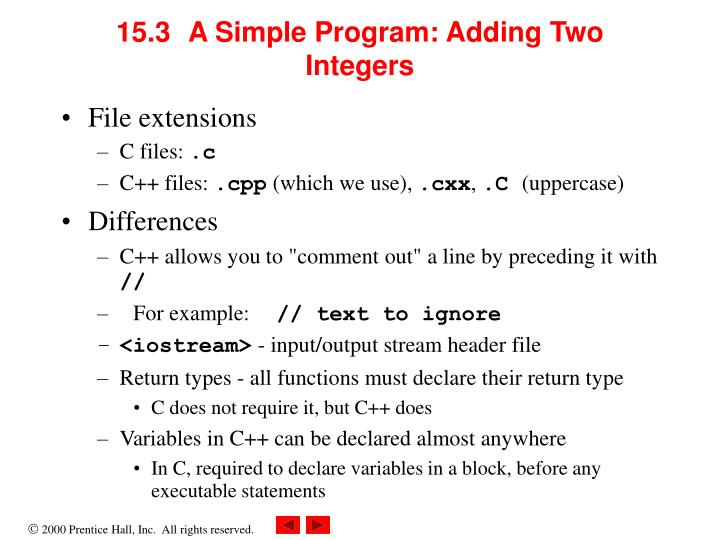 15.3	A Simple Program: Adding Two Integers