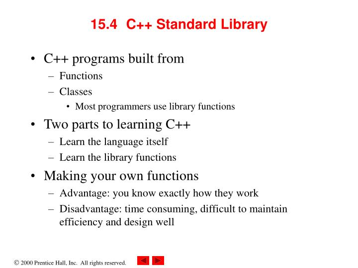 15.4	C++ Standard Library