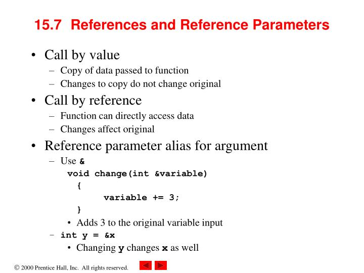 15.7	References and Reference Parameters