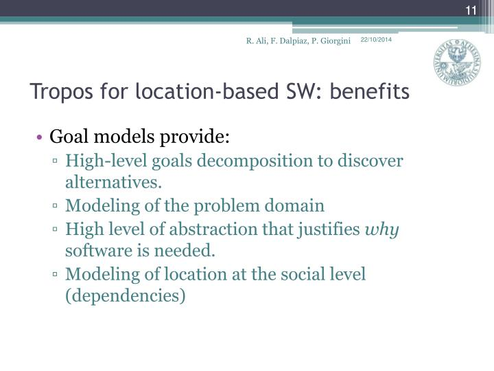 Tropos for location-based SW: benefits