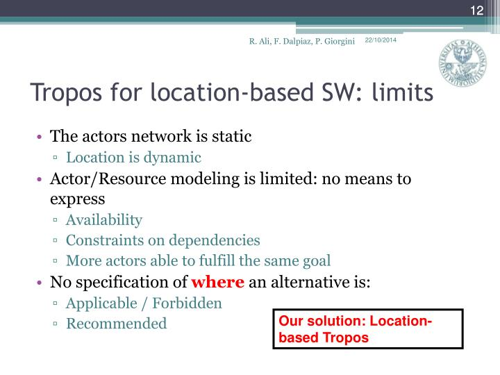 Tropos for location-based SW: limits