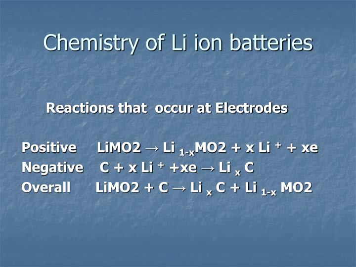Chemistry of Li ion batteries