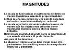 magnitudes