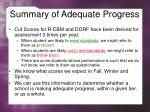 summary of adequate progress