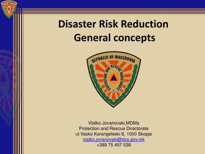 disaster risk reduction general concepts n.