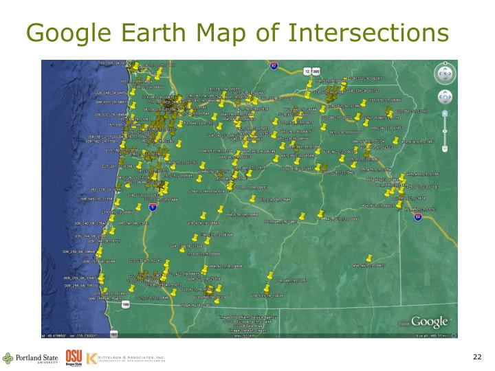 Google Earth Map of Intersections