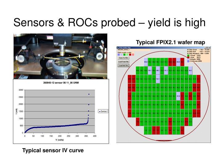 Sensors & ROCs probed – yield is high