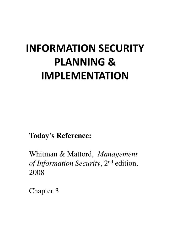 information security planning implementation n.
