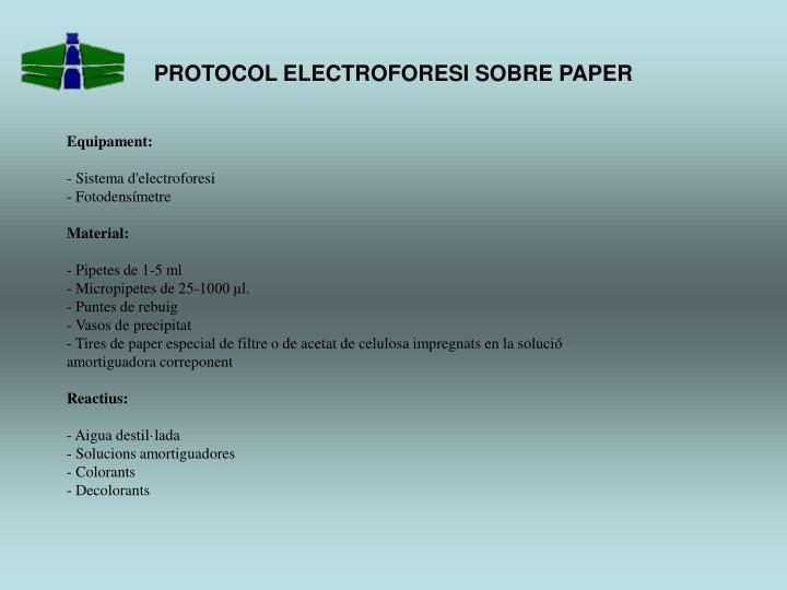 PROTOCOL ELECTROFORESI SOBRE PAPER
