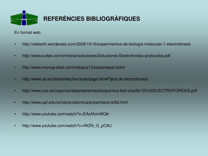REFERÈNCIES BIBLIOGRÀFIQUES