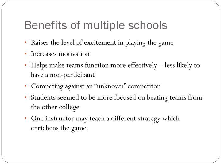 Benefits of multiple schools