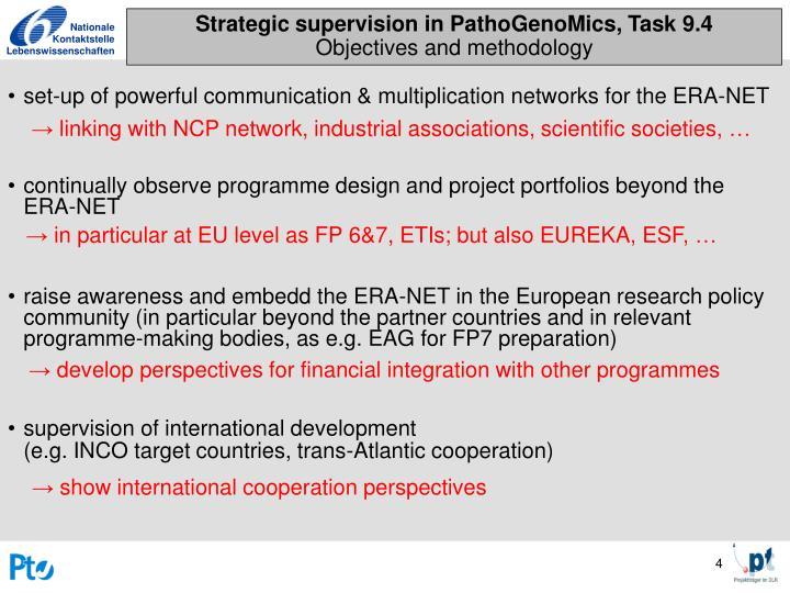 Strategic supervision in PathoGenoMics, Task 9.4