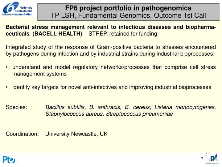 FP6 project portfolio in pathogenomics