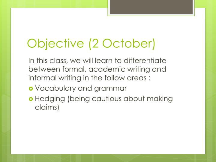objective 2 october n.