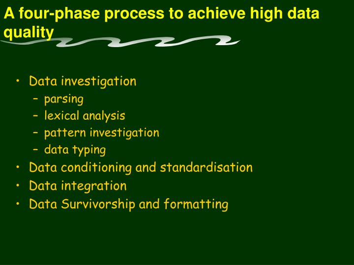 A four-phase process to achieve high data quality