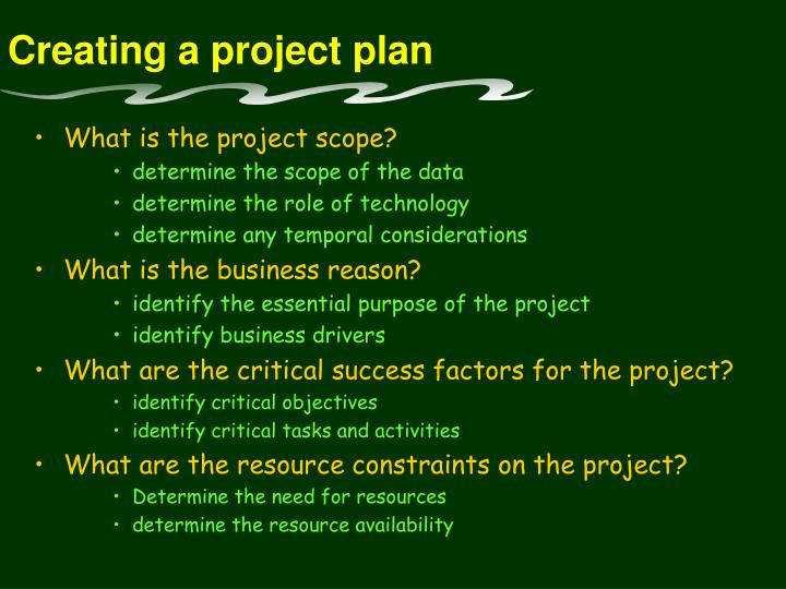 Creating a project plan