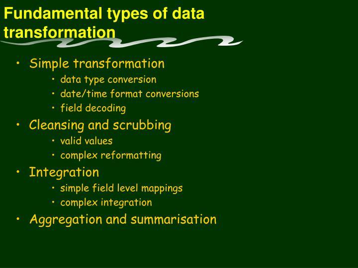 Fundamental types of data transformation