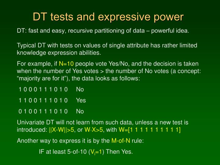 DT tests and expressive power
