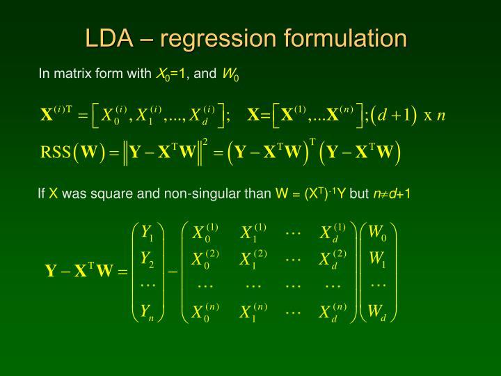 LDA – regression formulation