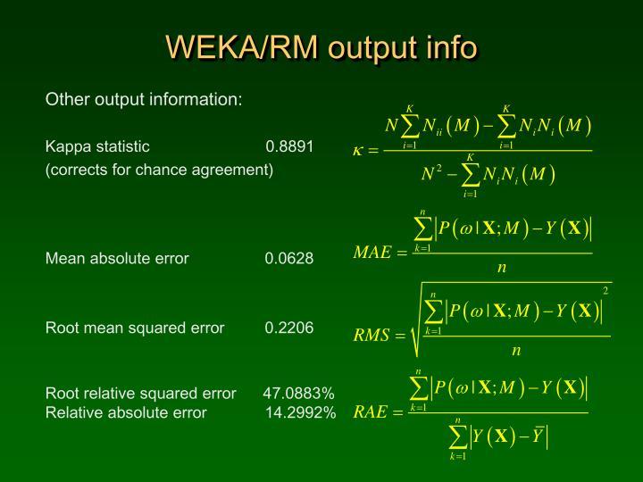 WEKA/RM output info