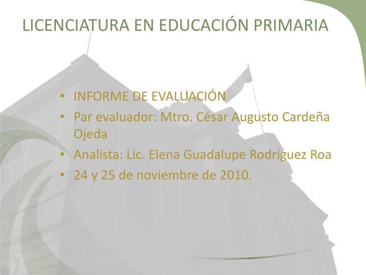 Licenciatura en educaci n primaria