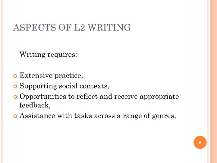 ASPECTS OF L2 WRITING