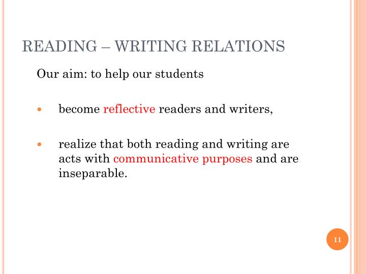 READING – WRITING RELATIONS
