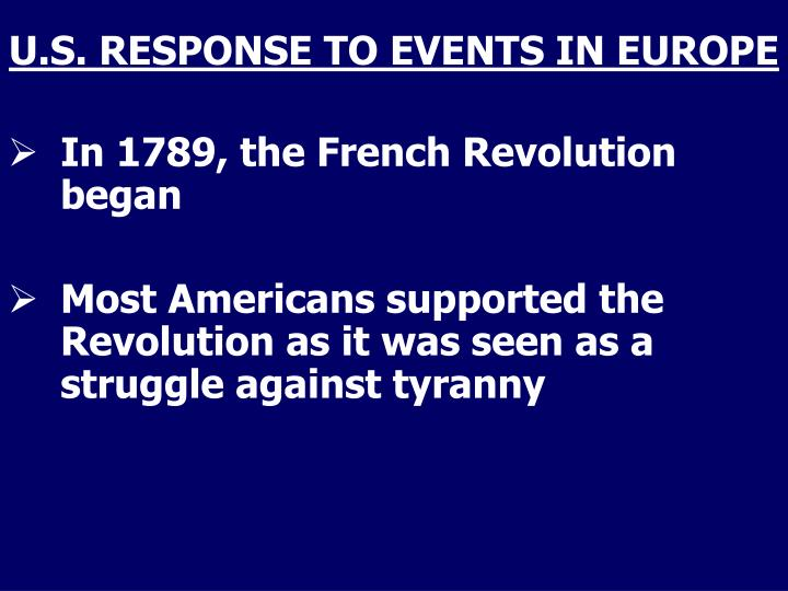 U s response to events in europe