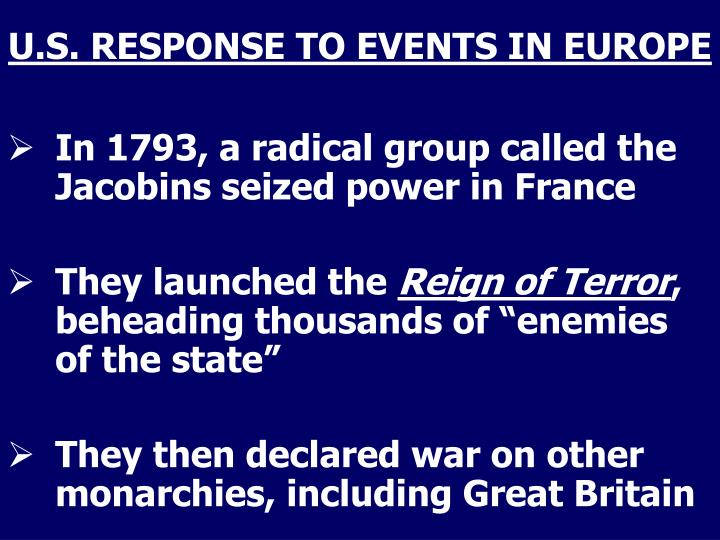 U.S. RESPONSE TO EVENTS IN EUROPE