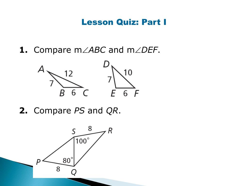 PPT - Inequalities for Sides and Angles of a Triangle