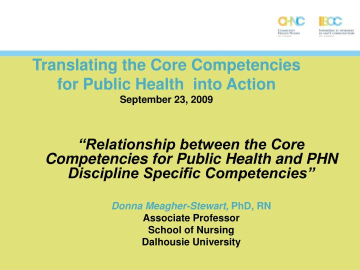 translating the core competencies for public health into action september 23 2009 n.