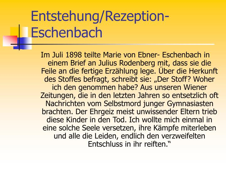 Entstehung/Rezeption- Eschenbach