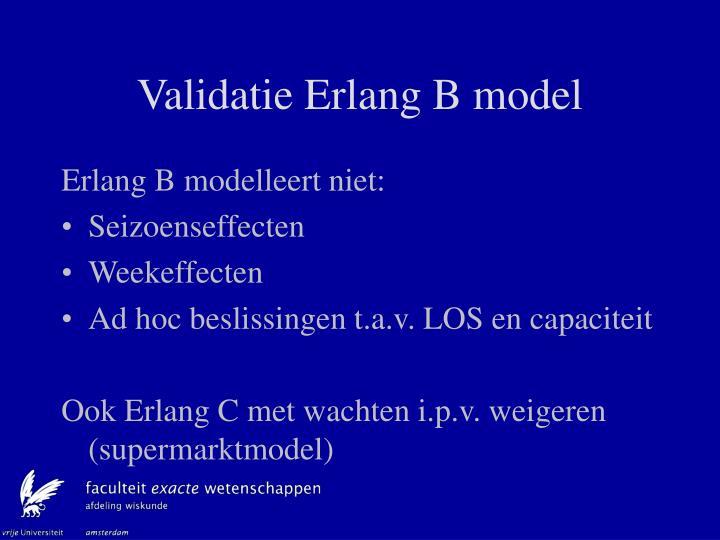 Validatie Erlang B model