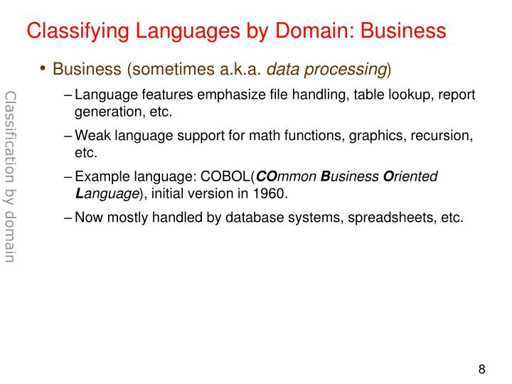 Classifying Languages by Domain: Business