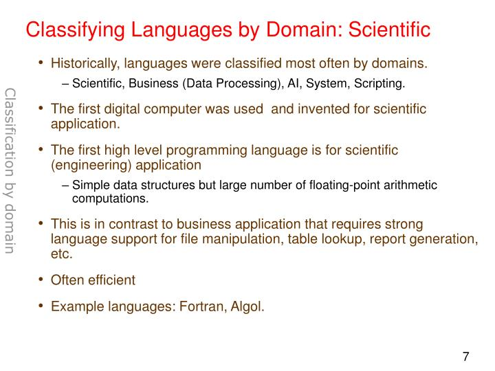 Classifying Languages by Domain: Scientific