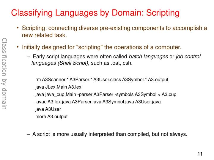 Classifying Languages by Domain: Scripting