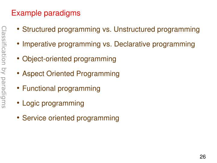 Example paradigms